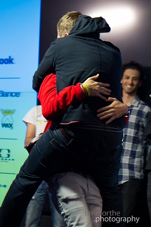 AngelHack  London Projekta win Nathan jump hug.jpg